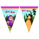 mayorista Articulos de fiesta: Masha y el oso Bandera Triángulo ( 9 banderas )