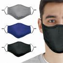 Masque facial en 3 parties bleu / gris / noir