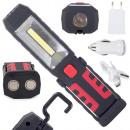 Lampe d'atelier 3en1 led cob batterie recharge