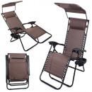 Chaise longue de jardin avec toit pliant et table
