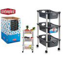 wholesale Organisers & Storage: 3-story white and anthracite plastic trolley