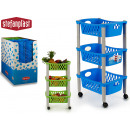 wholesale Organisers & Storage: 3-story plastic assorted blue and green cart