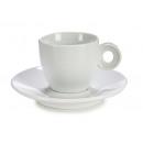 Tasse und Set Teller weißer Porzellankaffee