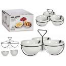 set di 3 piatti grandi in porcellana bianca