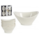 set of 6 white porcelain oval saucers