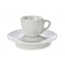 Kaffeetasse und Teller hohes weißes Porzellan