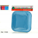 set of 10 smooth square plates assorted