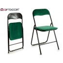 folding metal chair velvet green