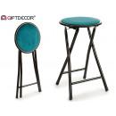 folding metal stool velvet blue