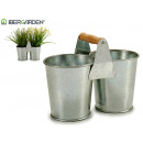 double planter with wood handle