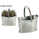 Oval basket with zinc handle