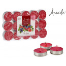 set of 30 tea light candles red berries