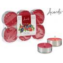 Satz von 6 Kerzen Maxi Teelicht Früchte rot