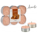 set of 6 candles maxi tea light cinnamon