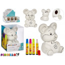piggy bank mouse pvc with 4 markers