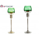 glass candle holder green silver foot grand