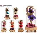crystal dome 2 flowers base wood assorted