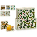 set of 6 large square cactus wood coasters