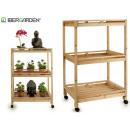 wooden cart 3 shelves 4 wheels natural