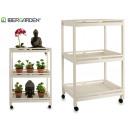 wooden cart 3 shelves 4 wheels white
