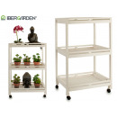 wholesale Kids Vehicles: wooden cart 3 shelves 4 wheels white