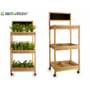 wooden cart 3 shelves natural slate