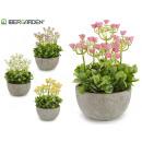 artificial plant rose flowerpot round cemen 4 vece