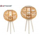 large round natural bamboo wood lamp