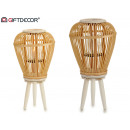 natural bamboo conica small wooden candle holder