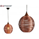 Round metal lamp with large copper finish