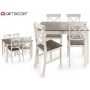 table set 4 chairs gray and white wood