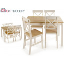 zestaw stołowy 4 krzesła natu i białe drewno