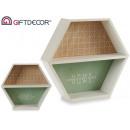 hexagonal wood shelving home
