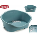 small gray plastic pet bed blue