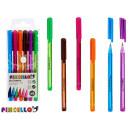 Großhandel Stifte & Schreibgeräte: 6er Set Kugelschreiber 14,5cm 6 Farben