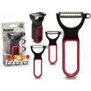 set of 3 red black plastic peelers