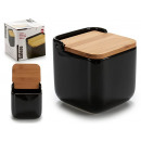 ceramic salt shaker bamboo black cover