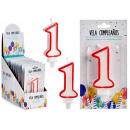candle birthday numbers 1 white edge red
