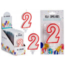 candle birthday numbers 2 white edge red