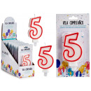candle birthday numbers 5 white edge red