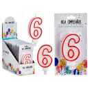 birthday candle numbers 6 white border red