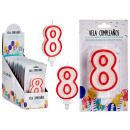 candle birthday numbers 8 white border red