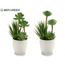 wholesale Artificial Flowers: low pot with plant models 2 times assorted