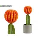 wholesale Artificial Flowers: wide plastic cactus flower orange 40cm
