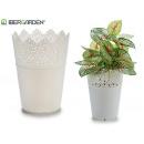 weißer Blumentopf aus Kunststoff 12x15cm