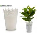 weißer Plastik Blumentopf 14,3x18,5cm
