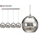 lampada quadrupla in argento lineare a sfera
