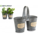 double tin planter with handles