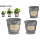 set of 3 round tin planters