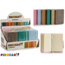 linen notebook 9x14cm colors 6 times assorted 192